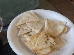 Homemade tortilla chips...flours tortilla sprinkle with olive oil and sea salt and bake @ 375 for 7 minutes. Use a pizza cutter to cut the flour tortilla in strips or triangles.