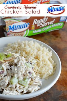 Cranberry Almond Chicken Salad Recipe | This easy chicken salad is satisfying and full of flavor! Serve with rice for a filling lunch that is quick and easy to make. AD LunchWithMinuteSweeps