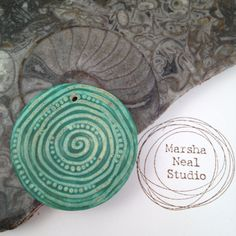 Handmade Ceramic Pendant Gnarly Spiral Texture by MarshaNealStudio