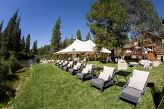 Wedding lounge area along the Truckee River near Lake Tahoe