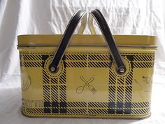 Vintage NESCO Tin Plaid Picnic or Sewing Basket w/2 Swing Handles Picnic Ryte   eBay