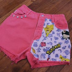 Hey, I found this really awesome Etsy listing at https://www.etsy.com/listing/179616534/coral-pokemon-cut-off-denim-high-waist