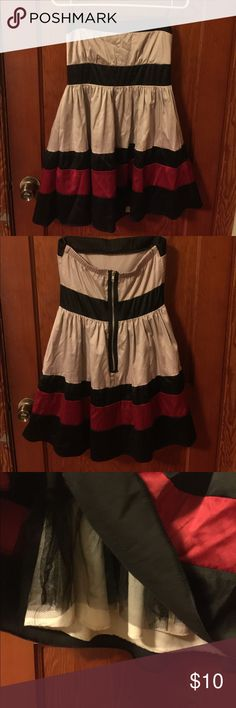 Strapless Party Dress Strapless dress. Fully lined skirt. Large zipper detail in back. Mystic Dresses Strapless