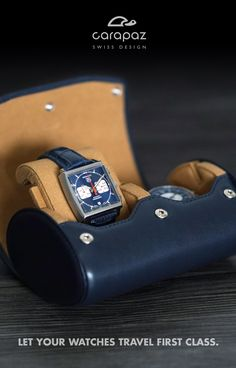 New leather watch case from Carpaz, with a stand/display function, and an overall new design. This model is for 2 Watches, made of exquisite calf leather. Also available for and 8 watches in 3 color shemes. Dark Brown Leather, Natural Leather, Calf Leather, Watch Storage, Leather Watch Box, Swiss Design, Watch Case, Color Schemes, Calves