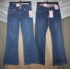GIRL'S LOT OF 2 Pairs SIZE 8 JEANS LEVI'S Flare Leg Stretch Adjustable Waist NEW | eBay