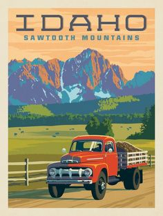 Vintage National Park Posters, Sawtooth Mountains, Cool Posters, Illustrations And Posters, Vintage Travel Posters, Vintage Advertisements, Idaho, Vintage Art, Trippy Stuff