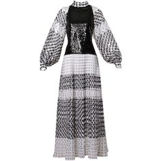 Pre-owned 1970s Marcel Fenez For Roland Klein Vintage Graphic Op Art... ($495) ❤ liked on Polyvore featuring dresses, grey, maxi dress, pleated maxi dress, zip back dress, grey sequin dress, overlay dress and overlay maxi dress