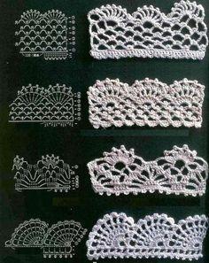 4 Beautiful crochet edgings.