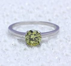 Genuine 1ct Peridot solitaire ring in Titanium by TheAladdinsCave