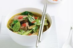 Roast beef fillet in shiitake mushroom and rice noodle broth