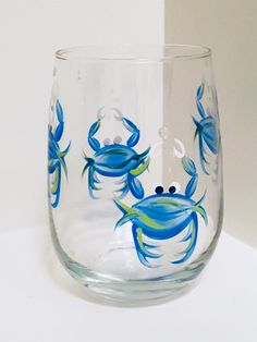 Hand-painted Glassware by ShopWinebyDesign Painted Wine Bottles, Hand Painted Wine Glasses, Bottle Painting, Bottle Art, Jar Art, Wine Bottle Crafts, Glass Art, Crab Feast, Blue Crabs