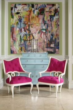 Retro Pink Chairs, Very Glam Look.