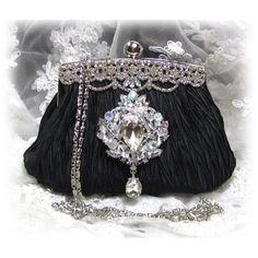 Vintage inspired Victorian Crystal French Couture ,clutch, bridesmaids clutch, bridesmaids evening bag, purse, handbag. $75.00, via Etsy.