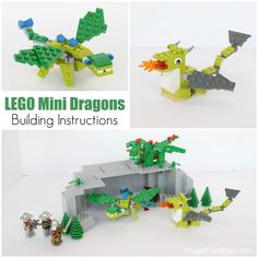 LEGO Mini Dragon Building Instructions - Frugal Fun For Boys and Girls Lego Projects, Animal Projects, Projects For Kids, Crafts For Kids, Lego Girls, Lego For Kids, Boys, Lego Design, Legos