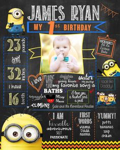 Minion Despicable Me Chalkboard poster for by HaleyMadisonDesign, $20.00