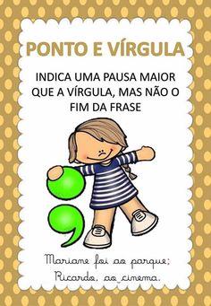 Cards com os sinais de pontuação Learn Portuguese, Sistema Solar, School Colors, Special Education, Vocabulary, Homeschool, Study, Teaching, Writing
