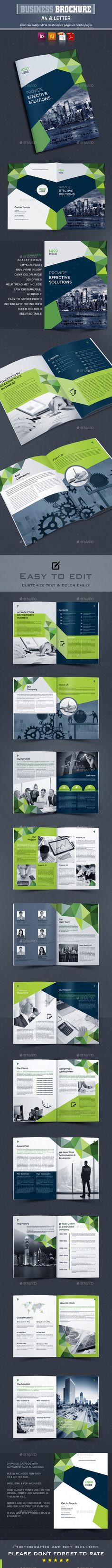 Corporate Brochure Template Vector EPS, InDesign INDD, AI Illustrator - 24 Pages, A4 & US Letter Size