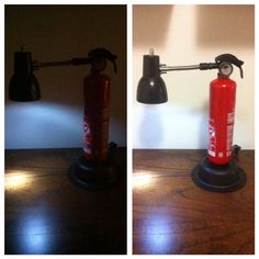 Luminária feita com a reutilização de um extintor de incêndio e outras peças usadas,