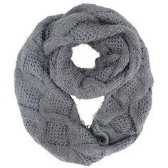 Luxury Divas Gray Diamond Knit Plush Fuzzy Eyelash Infinity Circle Scarf, Women's, Grey