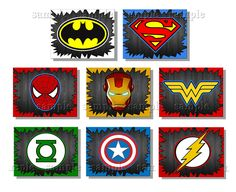 SUPERHERO Art Prints CHOOSE any 4 8x10 inch Art Prints  Super Hero Artwork. $20.00, via Etsy.