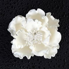 "Huge 6"" Gum Paste White Peony. I'm determined to make this for kim's shower cake"