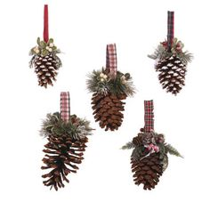Step 1 Glue old fabric strips, ribbon or jute to center top of pine cone to create hanger. Step 2 Cut and embellish top of pine cone as shown with pine, mistletoe and/or berries as desired. Secure with glue.