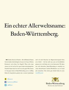 Daimler, Bosch und Einstein - alles weltbekannte Namen. Und sehr baden-württembergisch. Genauso wie Garcia, Özdemir, Kuzmanovic und Al-Nuri. Wir haben also nicht übertrieben, Baden-Württemberg ist tatsächlich ein Allerweltsname. Daimler, Bosch, Einstein, Names, Advertising