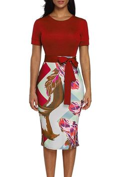 Red Bowknot Short Sleeve Printed Sheath Pencil Dress MB610096-3 – ModeShe.com Pretty Dresses For Women, Dresses For Teens, Summer Dresses For Women, Beautiful Dresses, Dresses For Work, Older Women Fashion, Ladies Fashion, Girl Fashion, Fashion Outfits
