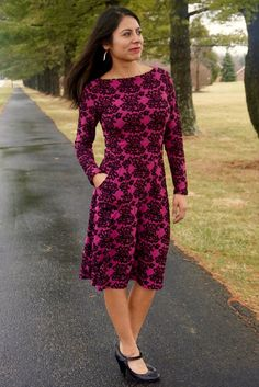 Asta Jersey dress PDF sewing pattern for women boat neck and long sleeve. This lovely dress comes with turtleneck or boat neckline. Including 4 sleeve lengths and a sleeveless version.