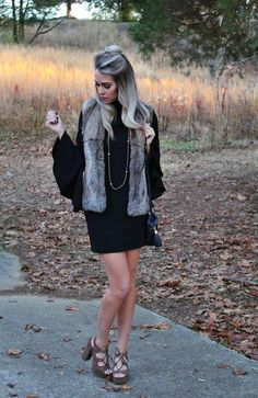 fur vest // bell-sleeved dress // wrap necklace // fall outfit // trending now golly miss molly: a fashion & style blog