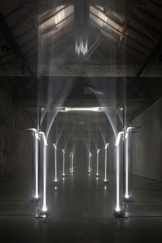 Inspiracje: TROIKA - MAKING ARCHITECTURE OUT OF LIGHT. This site specific installation by the London based design studio, Troika was on exhibit last month in Kortrijk, Belgium for the international biennial - Interieur Ecole Design, Art Et Design, Modern Design, Design Design, Arcade, Atelier Design, Light Art Installation, Fabric Installation, Art Installations