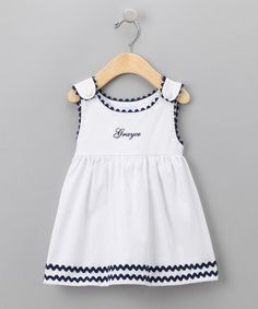 Take a look at this White & Navy Personalized Dress - Infant, Toddler & Girls by Princess Linens on #zulily today!