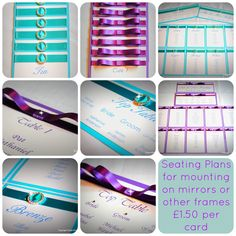 Good afternoon YO's, what a miserable Monday out there! Here's something to brighten things up, turquoise blue and Cadbury purple Seating Plan cards.  You can attach these to your mirrors and frames and create a unique look.  Contact me for more information.