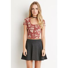 Forever 21 Women's  Buttoned Floral Crop Top ($8.90) ❤ liked on Polyvore featuring tops, button tops, floral crop top, short sleeve crop top, snug top and flower print crop top