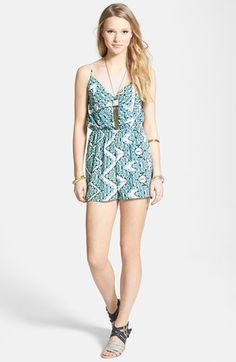 Everly Surplice Print Romper (Juniors) available at #Nordstrom