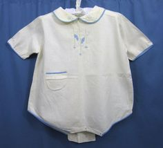 Vintage baby romper - applique & emboidery trim - doll re-use Vintage Baby Clothes, Vintage Dresses, Vintage Outfits, Vintage Clothing, Baby Boy Outfits, Children's Outfits, Applique Dress, Pretty Dolls, Baby Patterns