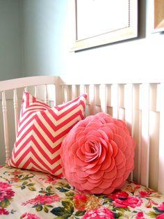 floral crib sheet and darling pillows