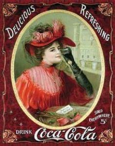 "Coca-Cola Tin Sign ""Victorian Red Dress"""