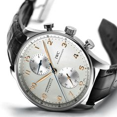 IWC Portuguese Chronograph! Love the blued chronograph hand and how it contrasts against the gold arabic numerals