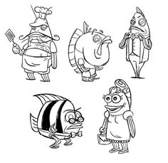 Feeding the sketchblog - here are some SpongeBob style fishes I designed at Nick that never ended up being used.