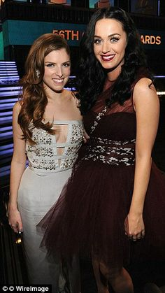The dress that caught Katy's eye: Anna Kendrick and Katy Perry backstage at the Grammy Awards on January 26