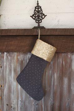 Burlap Black and Gold Stocking, Glitter stocking, Burlap Christmas ...