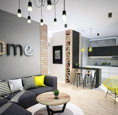 Modernes Wohnzimmer Sofa Anthrazit Graue Wandfarbe Gelbe Akzente