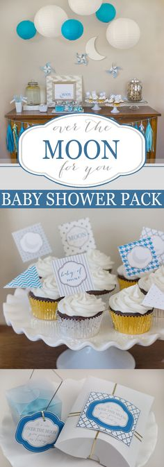 """""""Over the Moon for You"""" Printable Baby Shower Pack 
