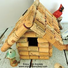 The weather is finally starting to warm a little and my thoughts are turning to yard and garden. I first saw this darling bird house, ma. Wine Cork Projects, Wine Cork Crafts, Craft Projects, Wine Cork Birdhouse, Easy Crafts, Diy And Crafts, Bird House Kits, Patriotic Decorations, Hobbies And Crafts