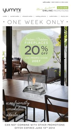 20% Off All Ethanol Fireplaces! Use Promo Code: 20EF At Checkout - ONE WEEK ONLY