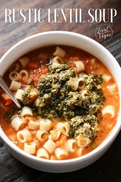 This Rustic Lentil Soup will give you all the feels! Topped with pesto is it loaded with flavor and comfort! Soup Recipes, Whole Food Recipes, Dinner Recipes, Cooking Recipes, Best Vegan Recipes, Vegetarian Recipes, Healthy Recipes, Healthy Meals, Yummy Recipes
