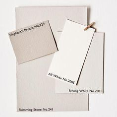 Contemporary Neutral paint colors from Farrow&Ball. Elephant's Breath No. Strong White No. Skimming Stone No. Neutral Paint Colors, Interior Paint Colors, Wall Colors, House Colors, Gray Paint, Neutral Palette, Farrow Ball, Farrow And Ball Paint, All White Farrow And Ball