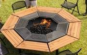 Fire Pit Grill, Bbq Grill, Landscaping With Fountains, Grill Table, Fire Pit Table, Open Fires, Adjustable Legs, Side Door, Eight