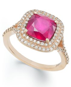 Rosa by Effy Ruby (3-1/8 ct. t.w.) and Diamond (1/3 ct. t.w.) Ring in 14k Rose Gold